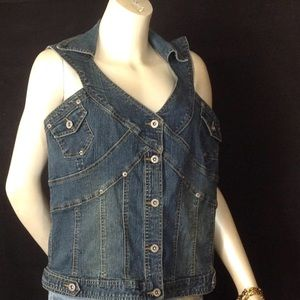 Ashley Stewart 14W  Rare/Chic Blue Denim Vest